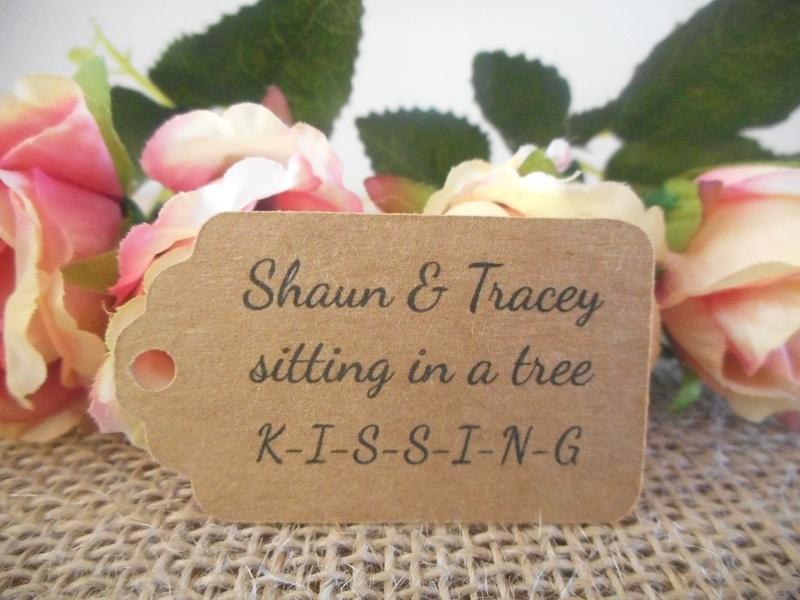 Kraft Personalised Rustic Vintage Wedding Tags Sitting in a Tree Kissing