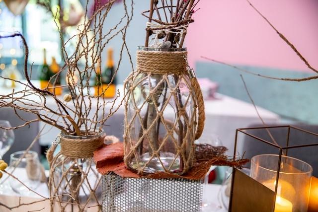 Large Jute Glass Flower Vase Rustic Wedding