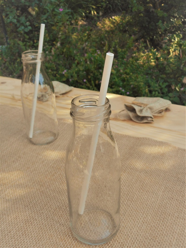 250ml Clear Round Drinking Glass Milk Bottle Small Flower Vase Rustic Party