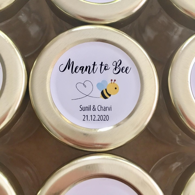 Cute Round Meant to Bee Wedding Labels Personalised Stickers