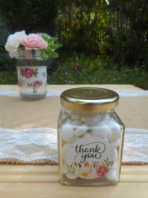 Round White Floral Thank you Labels Stickers (Ready Made) Vintage Wedding