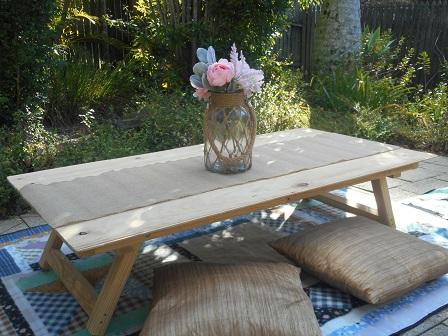 Rustic Jute Vase & Hessian Table Runner, Boho Picnic, Brisbane