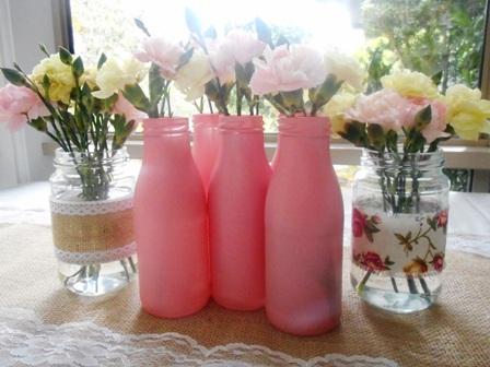 Spray Painted Milk Bottles, Table Decor Ideas Australia