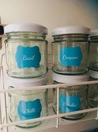 Teal Herb & Spice Custom Labels Organised Pantry