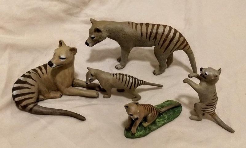 Thylacines - five hand sculptured figurines