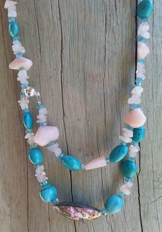 286. Rose Quartz, Pink Opal Stone, Turquoise, Blue Apatite and Shell Necklace