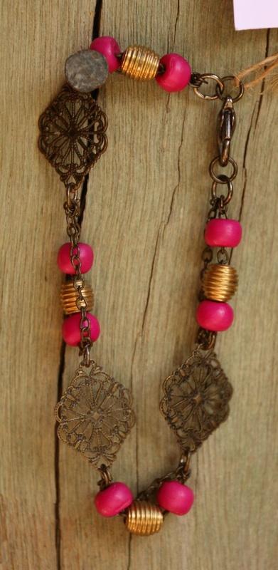 473. Pink Resin and Metal Bead Weaving Bracelet