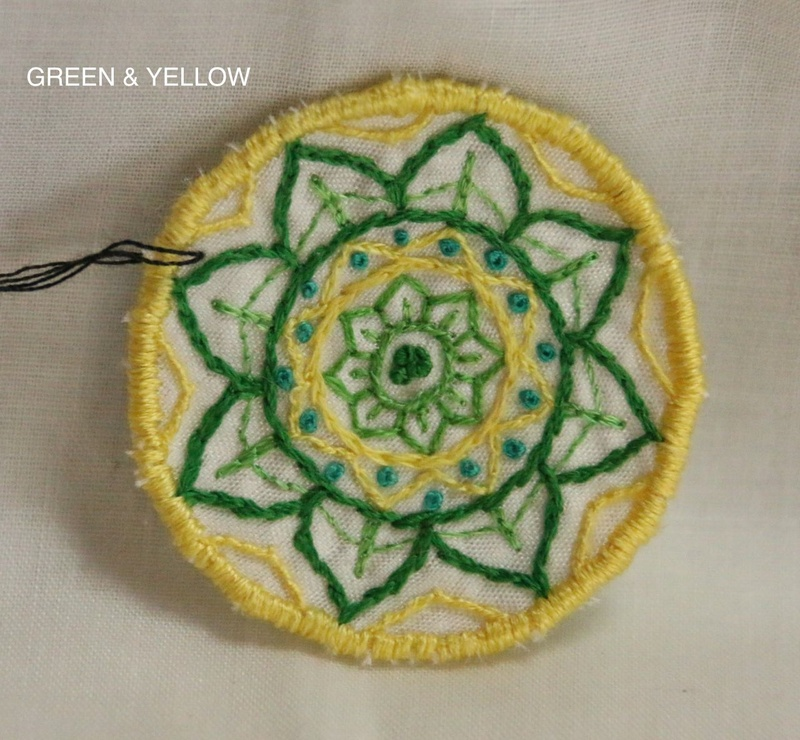 Mini Mandala - Green and Yellow - Hand Embroidered Sew On Patch