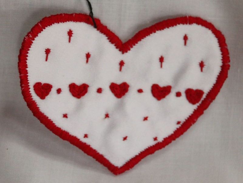 Hearts - Red - Hand Embroidered Sew On Patch