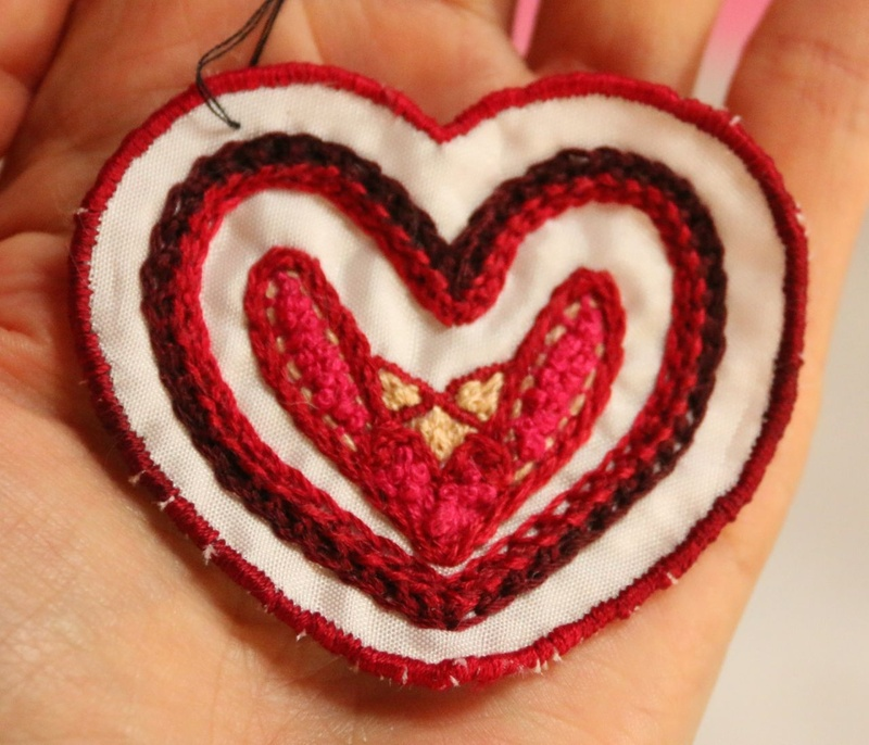 Heart Layers - Hand Embroidered Sew On Patch