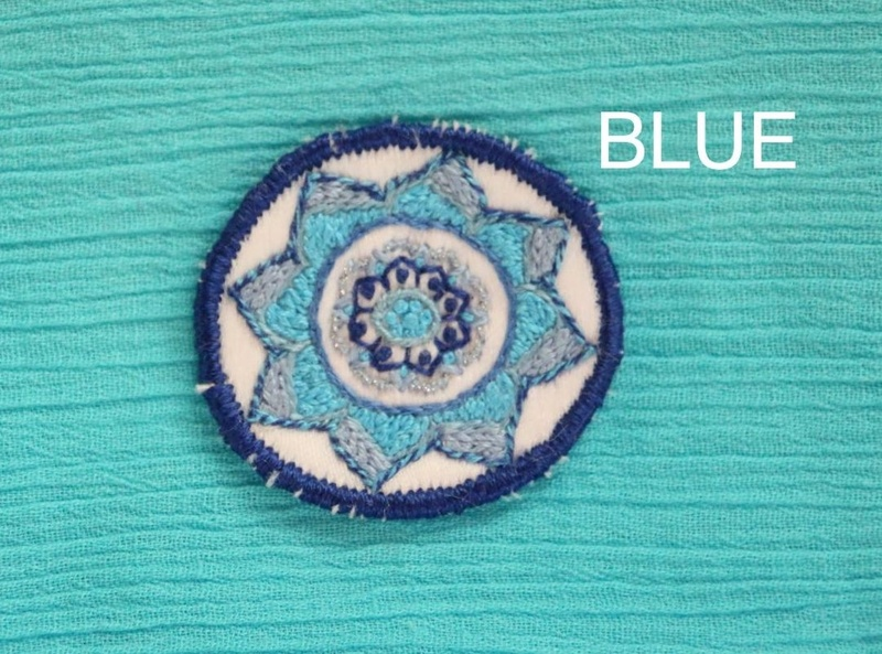 Mini Mandala - Blue - Hand Embroidered Sew On Patch