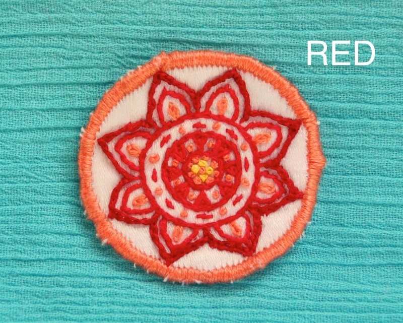 Mini Mandala - Red - Hand Embroidered Sew On Patch