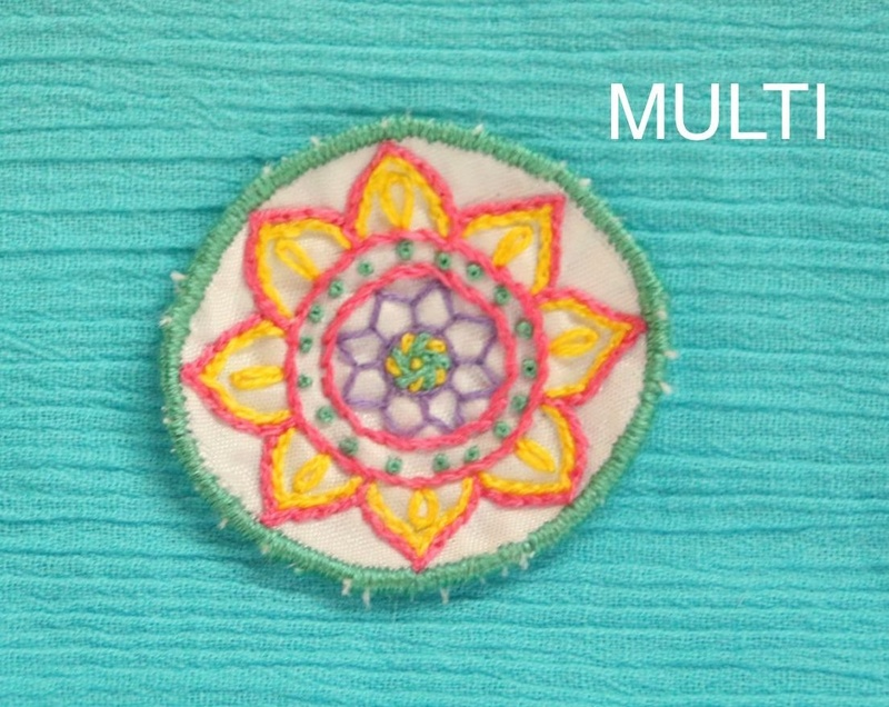 Mini Mandala - Multi - Hand Embroidered Sew On Patch