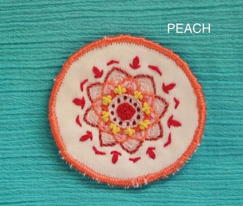 Mini Mandala - Peach - Hand Embroidered Sew On Patch