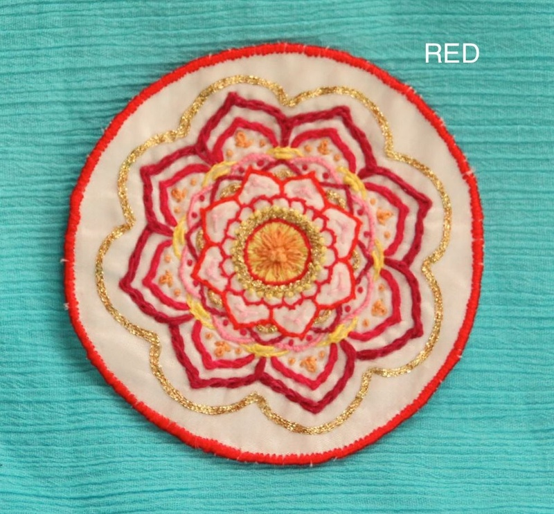 Midi Mandala - Red - Hand Embroidered Sew On Patch