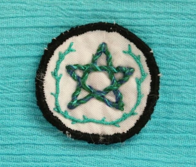 Pentagram - Small Green - Hand Embroidered Sew On Patch