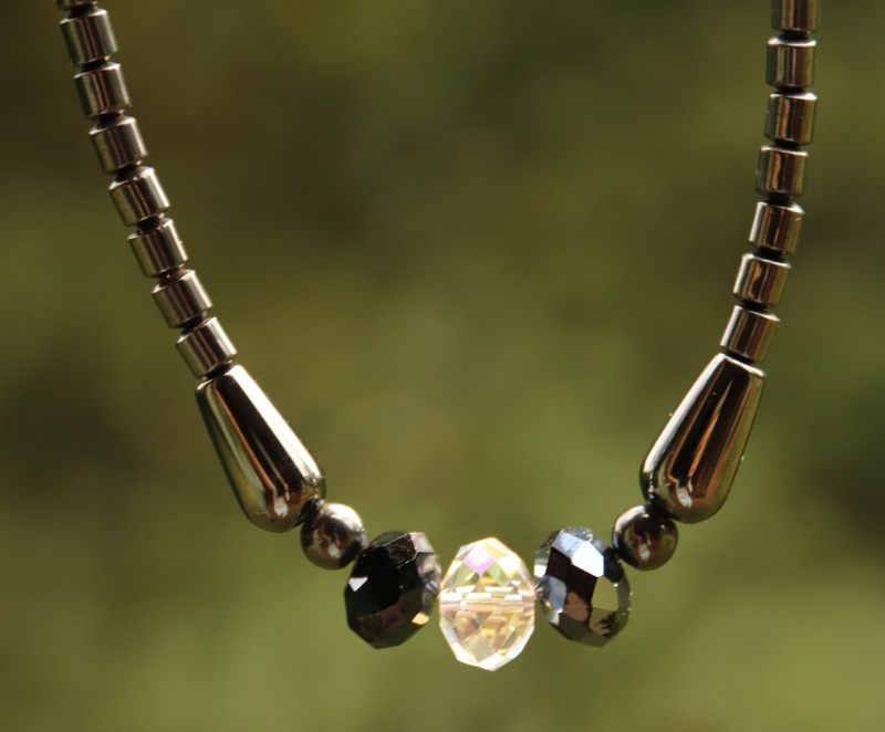343. Magnetic Hematite and Swarovski Crystal Necklace