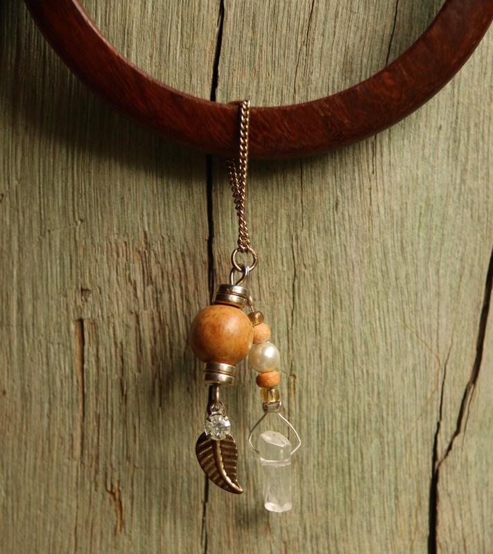 402. Wood Bangle, Clear Quartz and Wood Beads