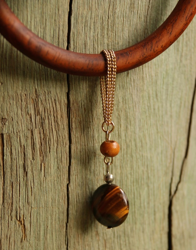 413. Tiger's Eye and Wood Bangle