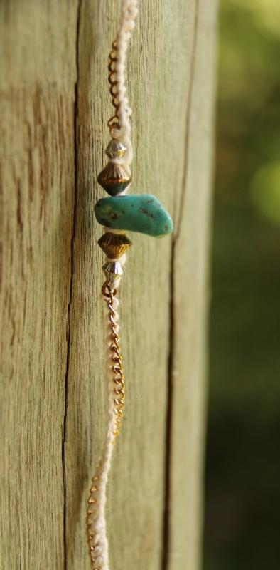 423. Turquoise and Needle Lace Bracelet