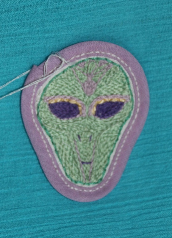Alien Face - Hand Embroidered Sew On Patch