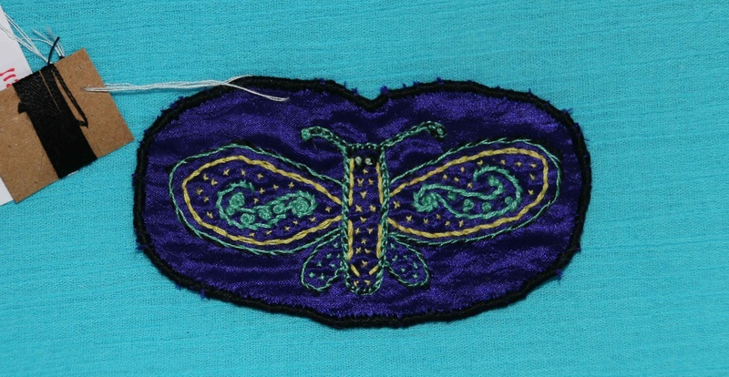 Butterfly - Blue - Hand Embroidered Sew On Patch