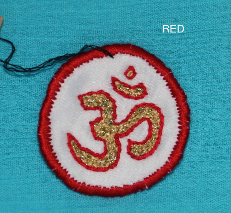 OHM Symbol - Red - Hand Embroidered Sew On Patch