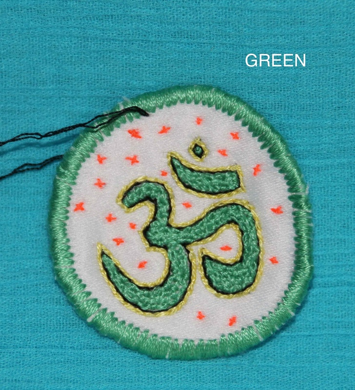 OHM Symbol - Green - Hand Embroidered Sew On Patch