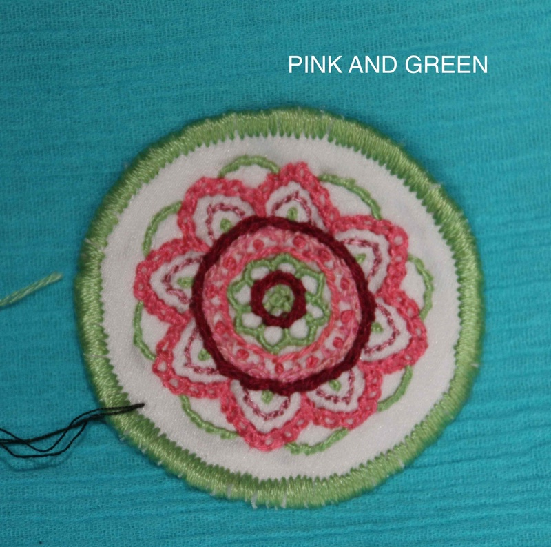 Mini Mandala - Pink and Green - Hand Embroidered Sew On Patch