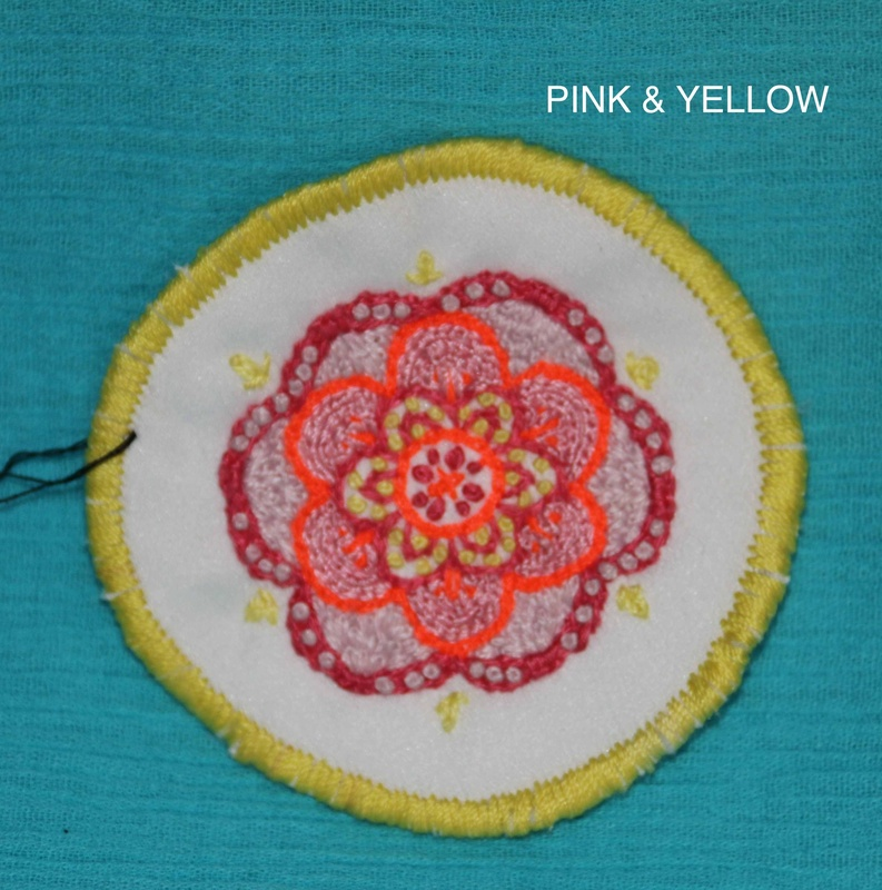 Mini Mandala - Pink and Yellow - Hand Embroidered Sew On Patch