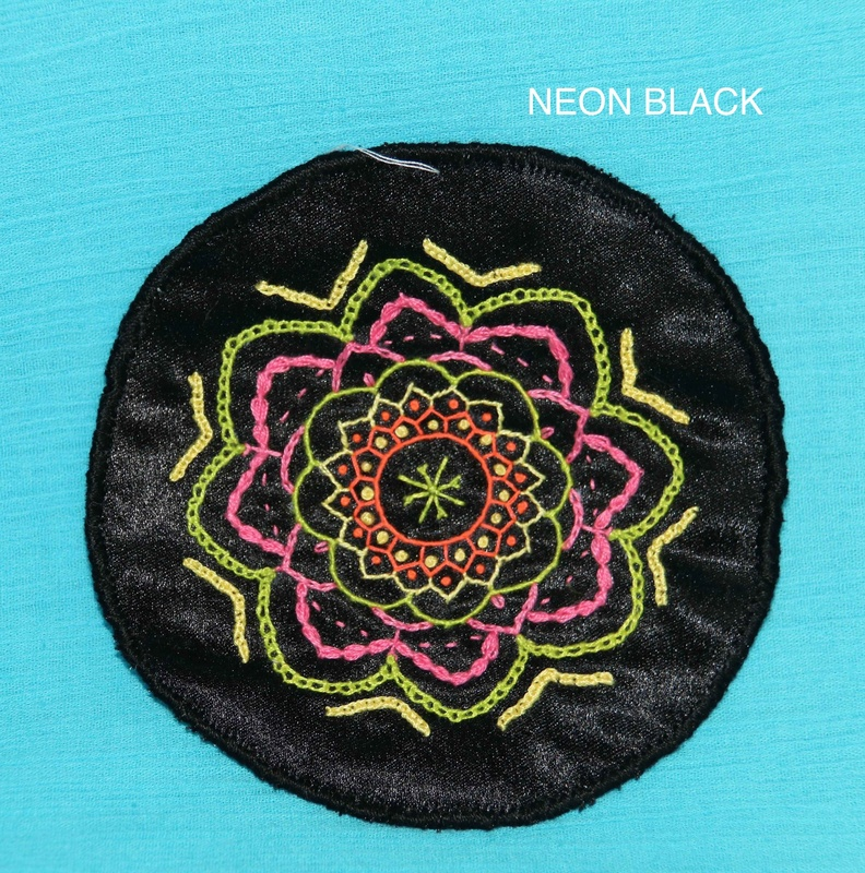 Midi Mandala - Neon Black - Hand Embroidered Sew On Patch