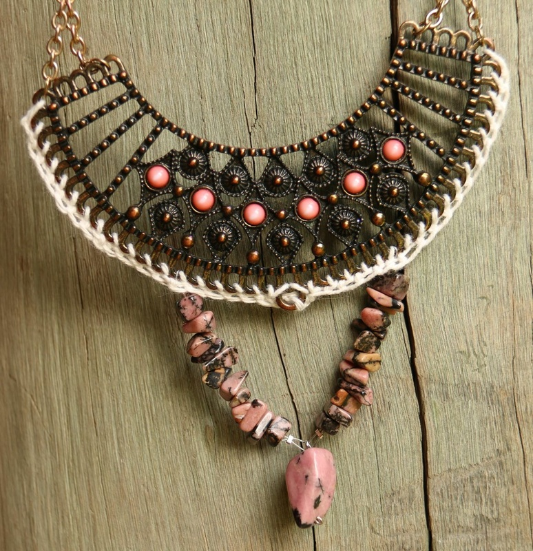 426. Rhodonite and Needle Made Lace Tribal Necklace