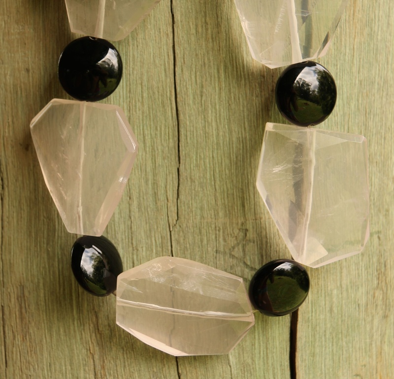 80. Rose Quartz and Onyx Necklace