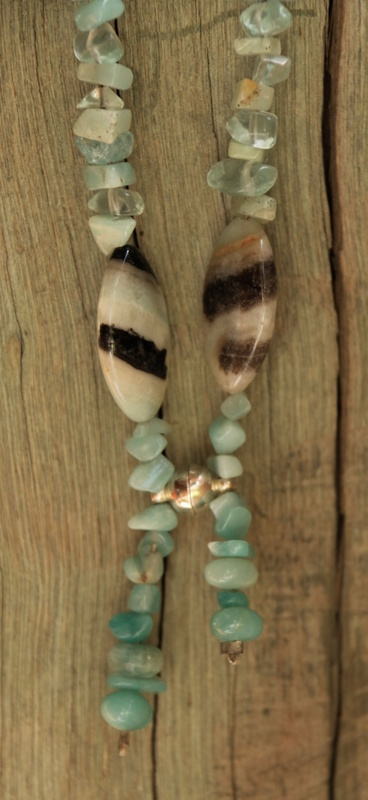 46. Amazonite and Blue Obsidian Necklace