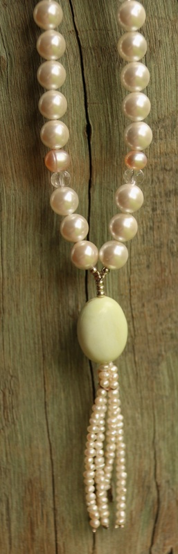 55. Pearl, Clear Quartz and Lemon Chrysoprase