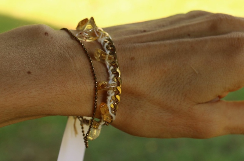 420. Citrine and Needle Made Lace Bracelet