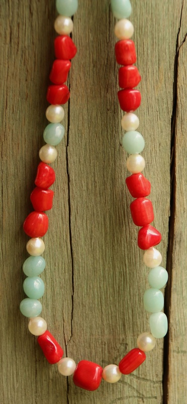 44. Amazonite, Red Coral and Pearl Necklace