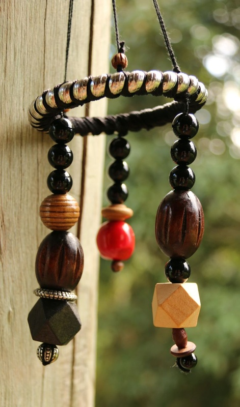 480. Wood Bead, Glass Bead and Red Coral Dangly Ornament