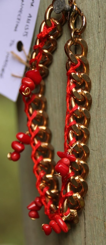 358. Red Coral Upcycled Chunky Chain Bracelet