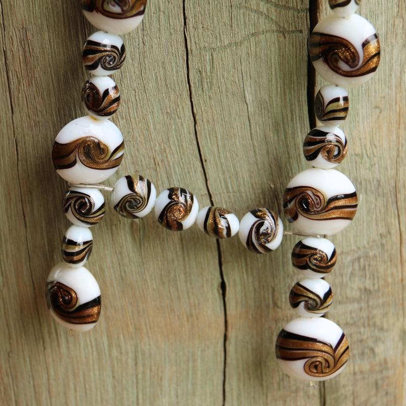 141. Handmade Glass Beads and Clear Quartz
