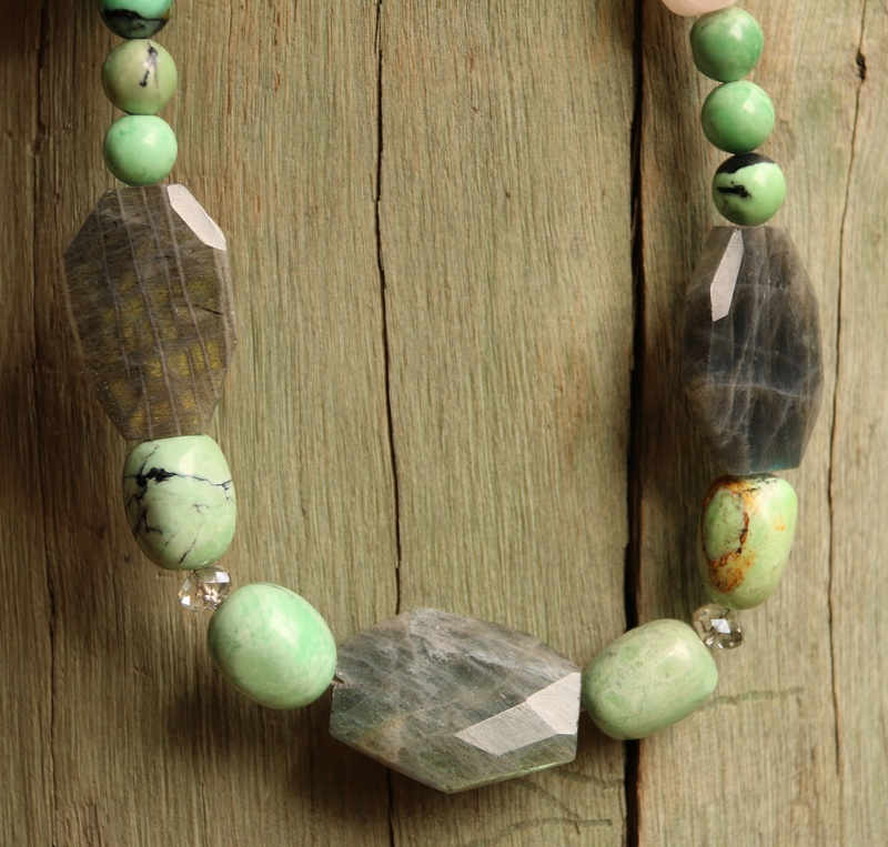 92. Labradorite, Chrysoprase, Rose Quartz and Swarovski Crystal Necklace