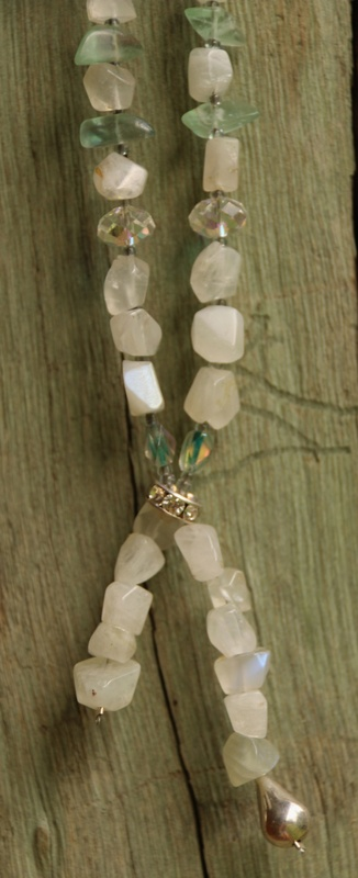 178. Fluorite, Moonstone, Silver, Glass Beads and Swarovski Crystal