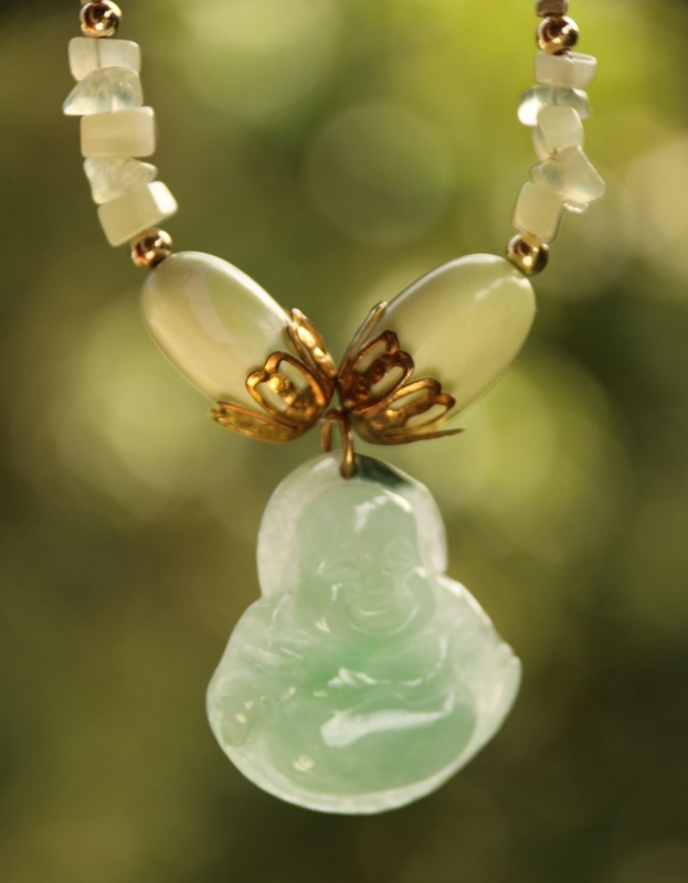 79. Lemon Chrysoprase, Prehnite and Jade Buddha Necklace