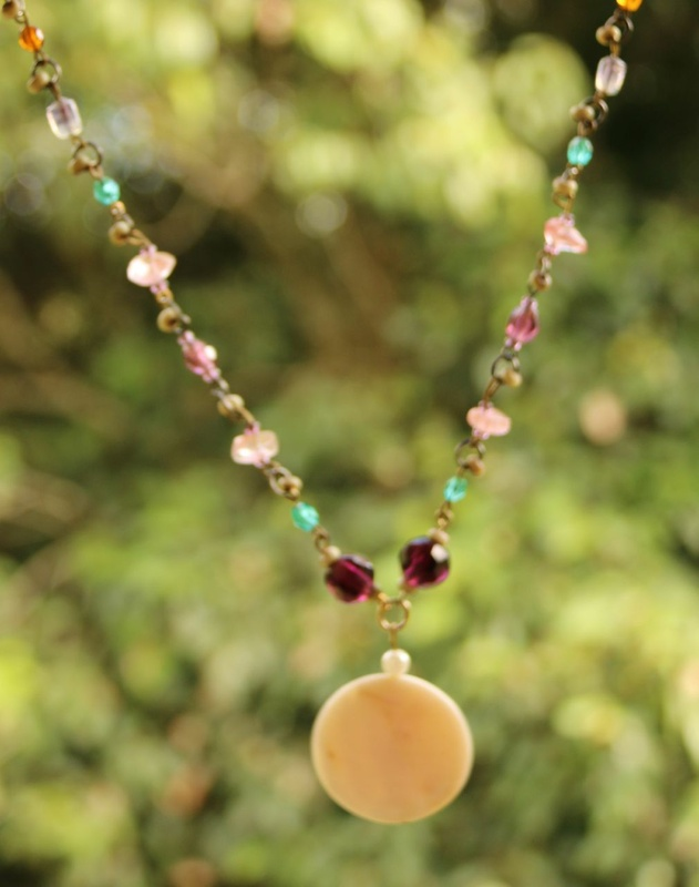 428. Strawberry Quartz, Glass Bead and Mother of Pearl Necklace
