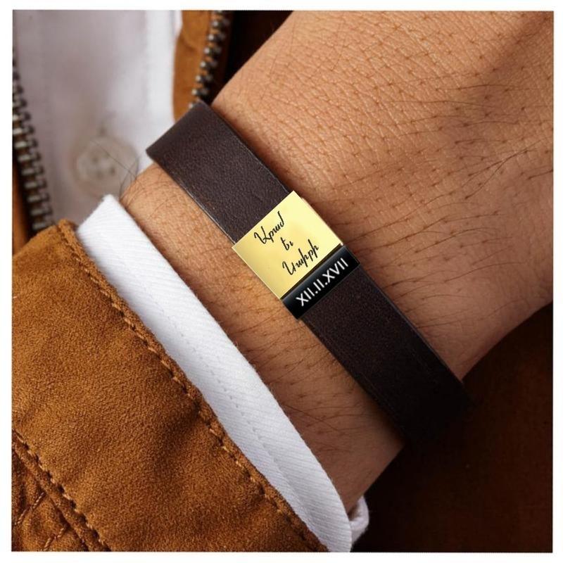 Personalised Leather Bracelet - single bead