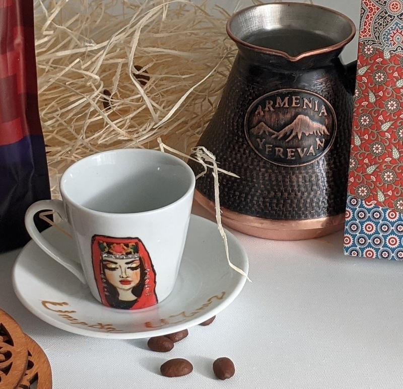 Ceramic coffee cups - set of 6 - Armenian Girl